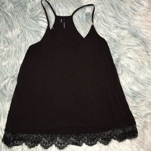 Maurices Black Racerback Lace Bottom Tank